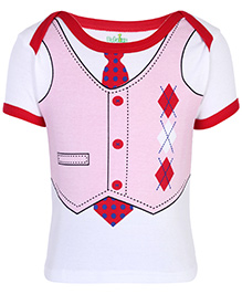 Babyhug Half Sleeves T-Shirt With Suit And Tie Print - Red