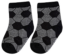 Cute Walk Ankle Length Socks Hexagon Print - Charcoal Grey