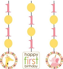 Wanna Party 1 Birthday Dangling Cutouts - Set of 3