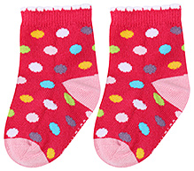 Cute Walk Ankle Length Socks Dot Print - Fuchsia