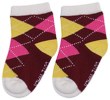 Cute Walk Ankle Length Socks - Argyle Design