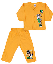 Cucumber Full Sleeves Front Closure T-Shirt And Legging With Ben 10 Print - Yellow