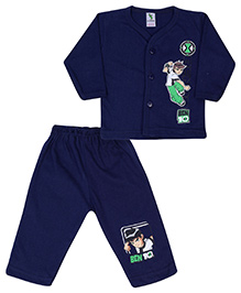 Cucumber Full Sleeves Front Closure T-Shirt And Legging With Ben 10 Print - Navy Blue