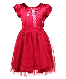 Herberto Short Sleeves Trendy Party Wear Frock - Red