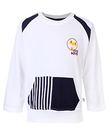 Cucumber Sweat Shirt With Front Kangaroo Pockets - White and Black