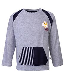 Cucumber Sweat Shirt With Front Kangaroo Pockets - Grey and Black