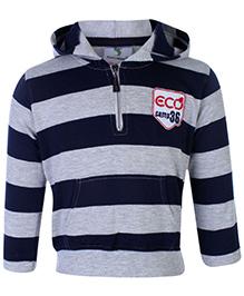 Cucumber Hooded Sweatshirt Full Sleeves With Kangaroo Pockets - Navy Blue and Grey