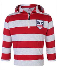 Cucumber Full Sleeves Hooded Sweatshirt With Kangaroo Pockets - Red