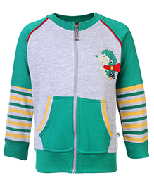 Cucumber Full Sleeves Front Zip Closure Sweat Shirt With Hedgehog Print - Green and Grey