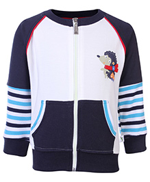 Cucumber Full Sleeves Front Zip Closure Sweat Shirt With Hedgehog Print - White and Blue