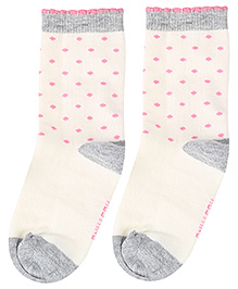 Mustang Socks Ankle Length White - Polka Dot Print
