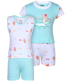 Babyhug 4 Piece Set Best Friend Print - White And Aqua Blue