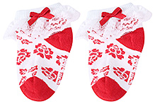 Cute Walk Socks Ankle Length Red - Overlay Lace Detail