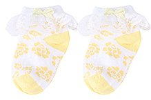 Cute Walk Socks Ankle Length Yellow - Overlay Lace Detail