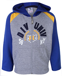 Cucumber Full Sleeves Hooded Front Zippered Jacket With Div UNIV Patch - Blue and Grey