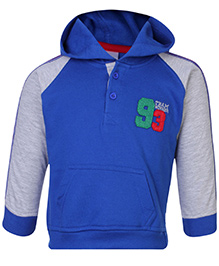 Cucumber Full Sleeves Hooded Sweat Shirt With Front Button Closure - Blue