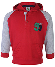 Cucumber Full Sleeves Hooded T-Shirt With Front Button Closure - Red