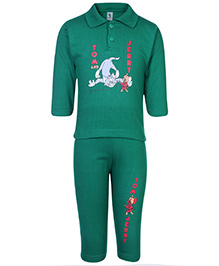 Cucumber Full Sleeves T-Shirt And Legging Green - Tom And Jerry Print