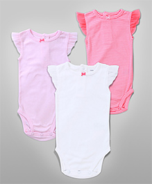 Stripe Bow Romper Set – White, Pink &  Puce