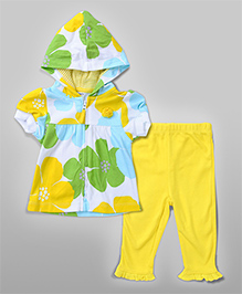 Hoodie Floral Cardigan Set - Yellow & Green
