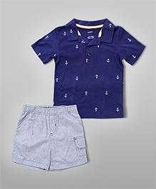 Anchor Tee & Shorts – Blue & Grey
