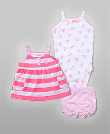3-Piece Stripe Dress Set - Pink