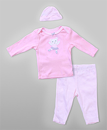 3-Piece Teddy Tee & Leggings Set - Pink