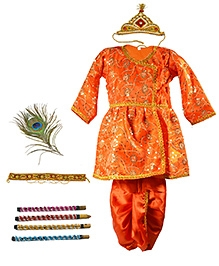 Little Krishna Themed Krishna Costume Set With Accessories - Orange