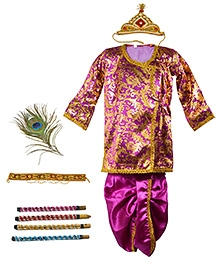 Little Krishna Themed Krishna Costume Set With Accessories - Purple