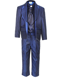 Babyhug Full Sleeves Four Piece Party Suit - Blue