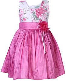 Babyhug Sleeveless Party Wear Frock Pink - Flower Applique