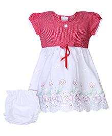 Babyhug Short Sleeves Frock With Bloomer Red - Polka Dot Print