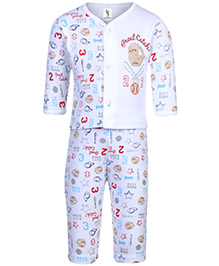 Cucumber Full Sleeves Night Suit Multi Print - White
