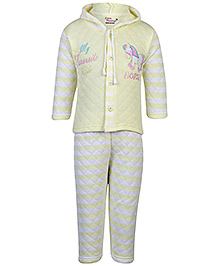 Little Darling Full Sleeves Hooded T-Shirt And Legging Set - Yellow
