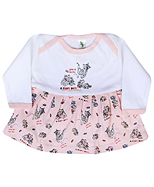 Cucumber Full Sleeves Frock With Tom And Jerry Print - Light Pink