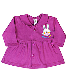 Cucumber Full Sleeves Front Button Closure Frock With Bunny Print - Purple