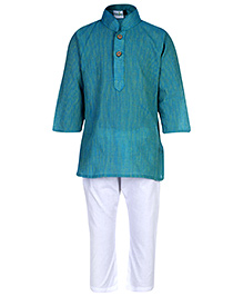 Babyhug Full Sleeves Kurta And Pajama Set - Green