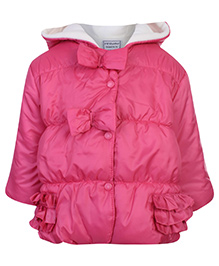 Swan Quilted Hooded Jacket Full Sleeves With Bows - Pink
