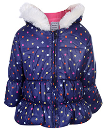 Swan Quilted Jacket Full Sleeves With Polka Dot Print - Navy Blue