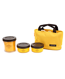 Lock & Lock Round Lunch Box Set Small  - Yellow