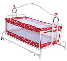New Natraj Compact Cradle Twin With Cute Print - Red