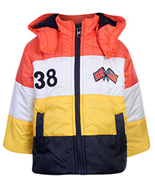 Swan Quilted Hooded Jacket Full Sleeves Multicolor With Pockets