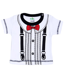 Babyhug T-Shirt Half Sleeves Black - Clip Line Belt Print