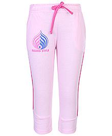 Cucu Fun Track Pant Rising Style Print With Drawstring - Pink
