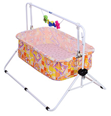 New Natraj Comfy Cradle Small Dots and Teddy Print - Orange