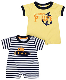 ToffyHouse Rompers Half Sleeves Set Of 2 - Anchor