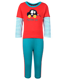 Paaple Full Sleeves T-Shirt And Leggings Set - Red
