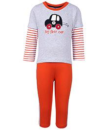 Paaple Full Sleeves T-Shirt And Leggings Set - Grey