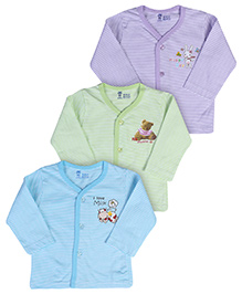 Pink Rabbit Vests With Full Sleeves Multi Color - Set Of 3