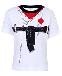 Babyhug T-Shirt With Half Sleeves - White And Black